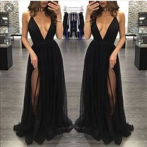 Low plunge sheer gown
